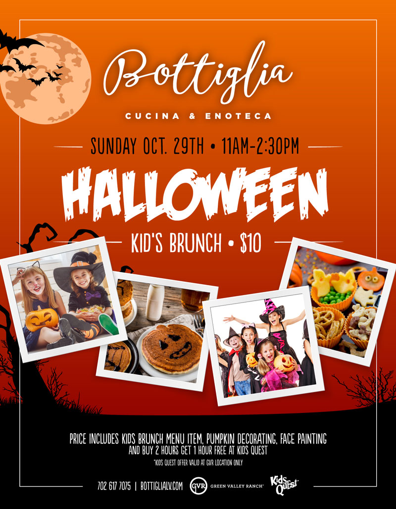 Come Join Bottiglia for our New Halloween Kids Brunch on October 29th