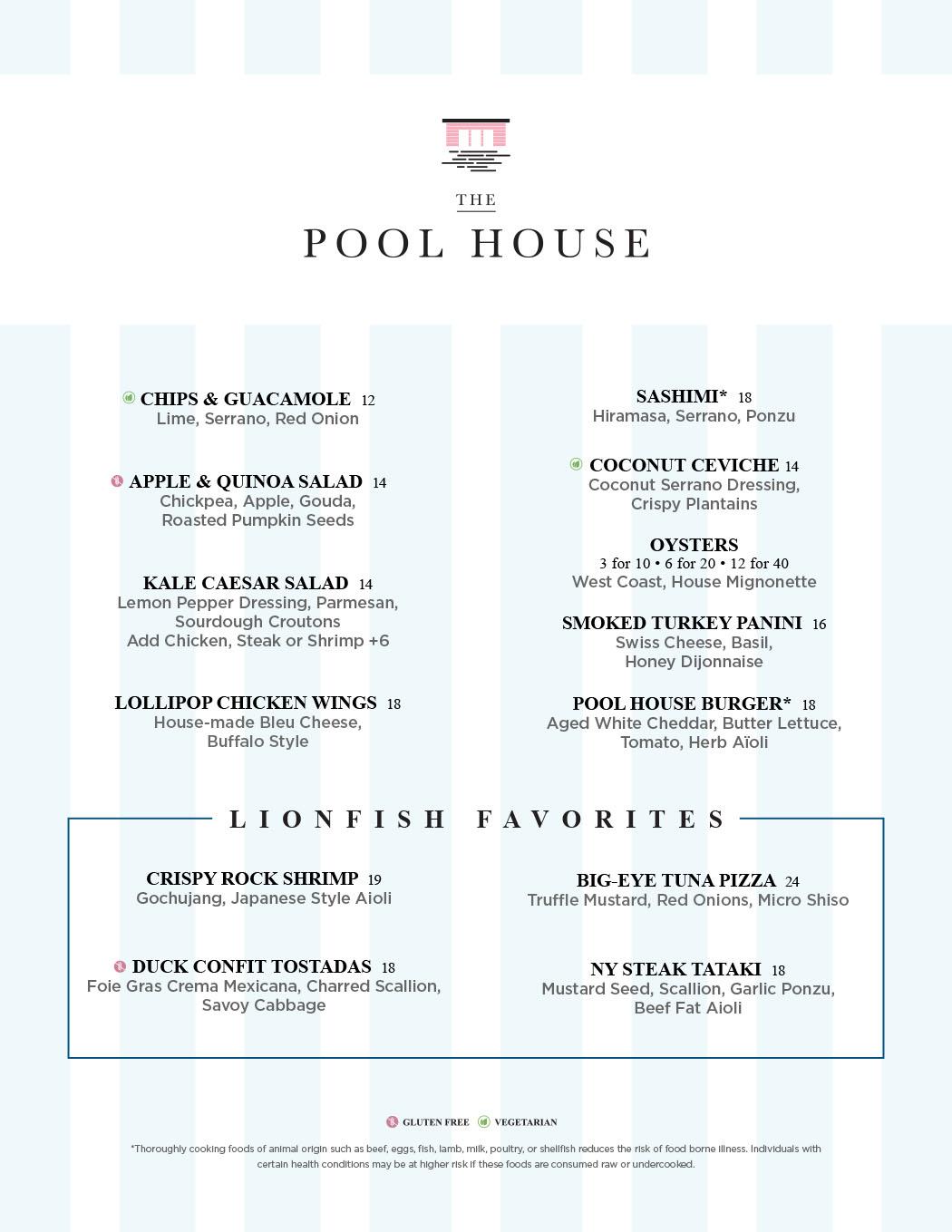 Pool House Rooftop Menu 1