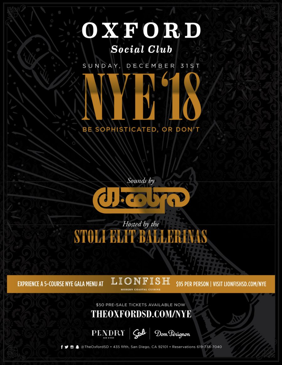 Celebrate The Biggest NYE Bash in Gaslamp at Oxford Social Club
