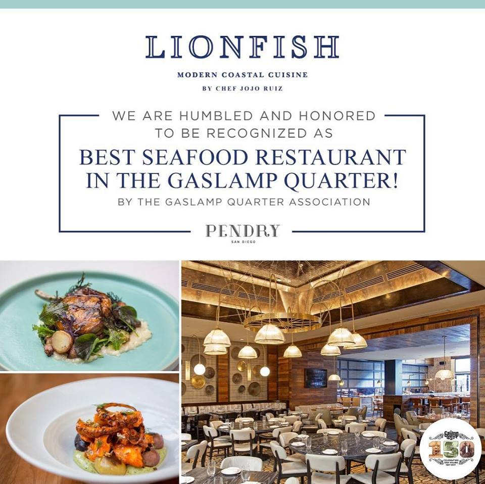 Lionfish Voted Best Seafood Restaurant In The Gaslamp