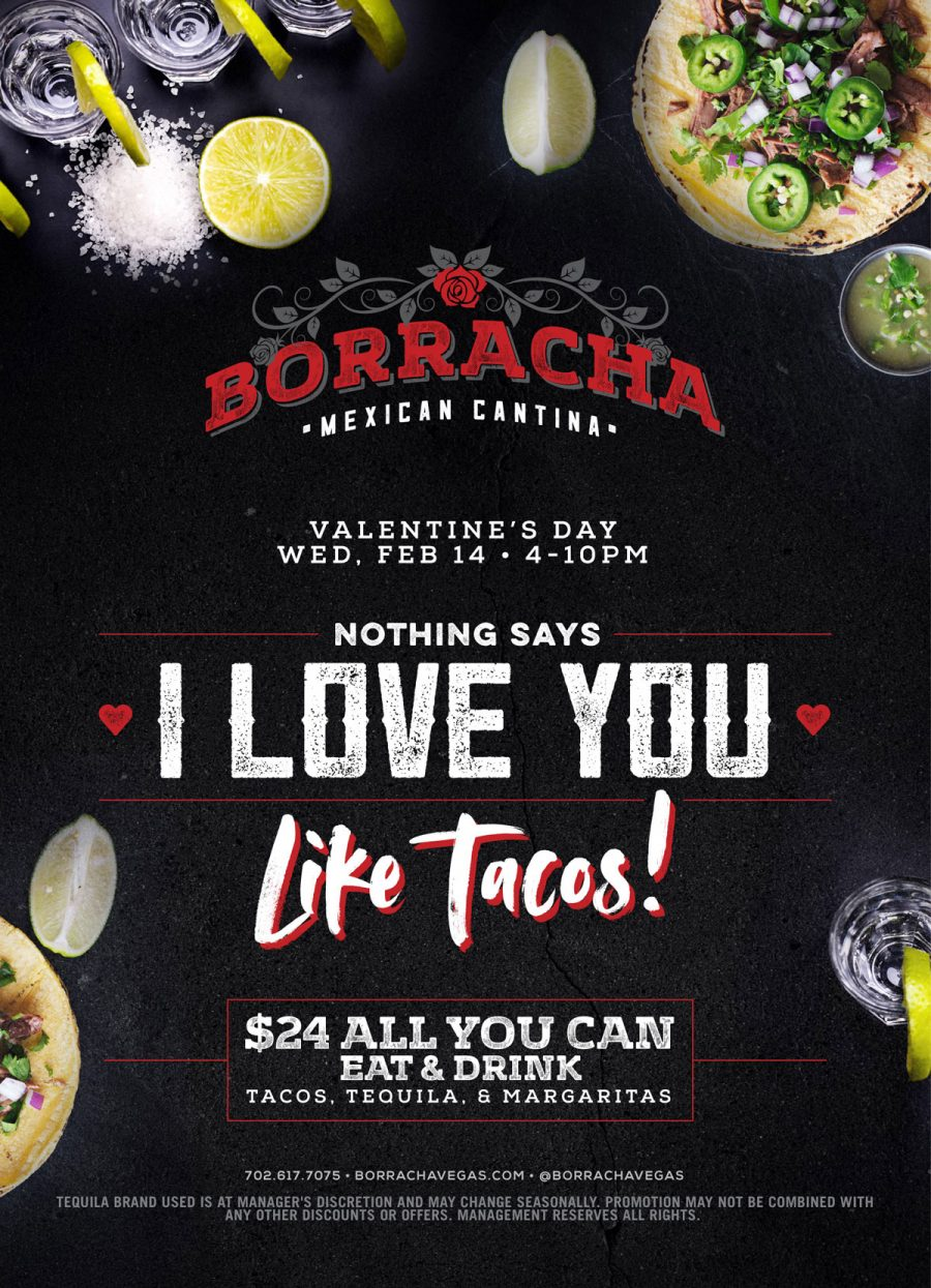 "Nothing Says ""I Love You"" Like Valentines Day Tacos at Henderson Restaurant Borracha"
