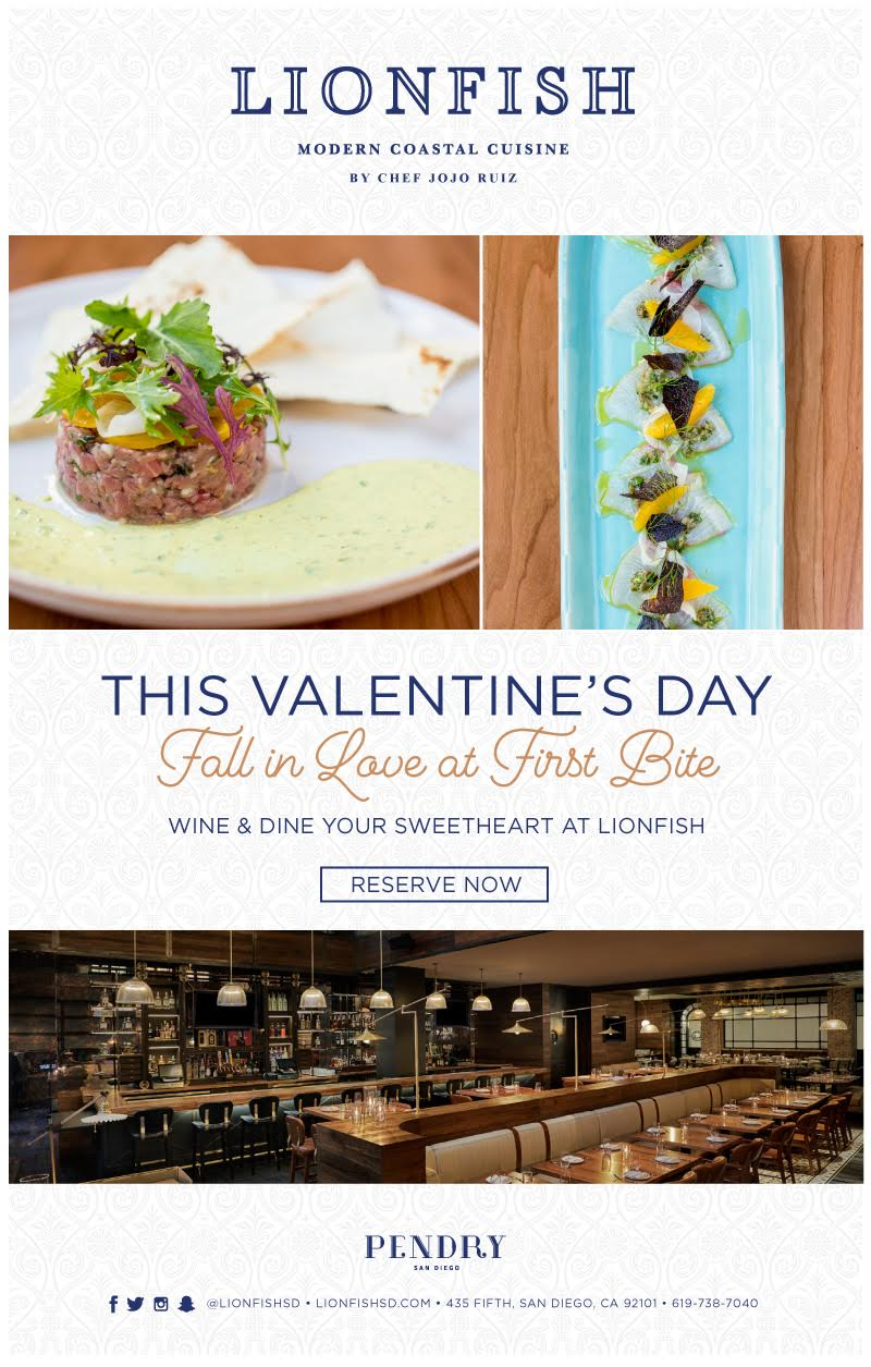 Celebrate Valentine's Day at San Diego Restaurant Lionfish and Fall In Love at First Bite