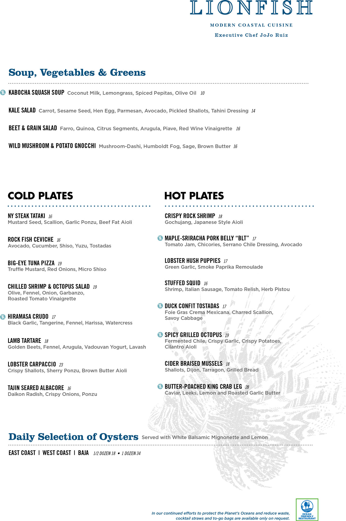 Lionfish San Diego Seafood Restaurant Menu 1