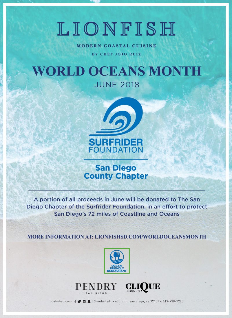 June is World Ocean's Month and Lionfish is Partnering With SD Surf Rider to Give Back