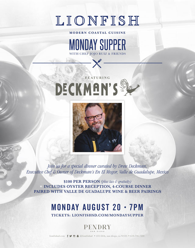 Announcing Deckman's Dinners at Lionfish