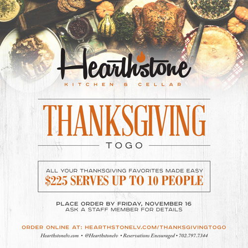 Order Your Thanksgiving To Go at Hearthstone
