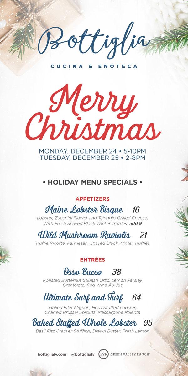 bottiglia christmas menu