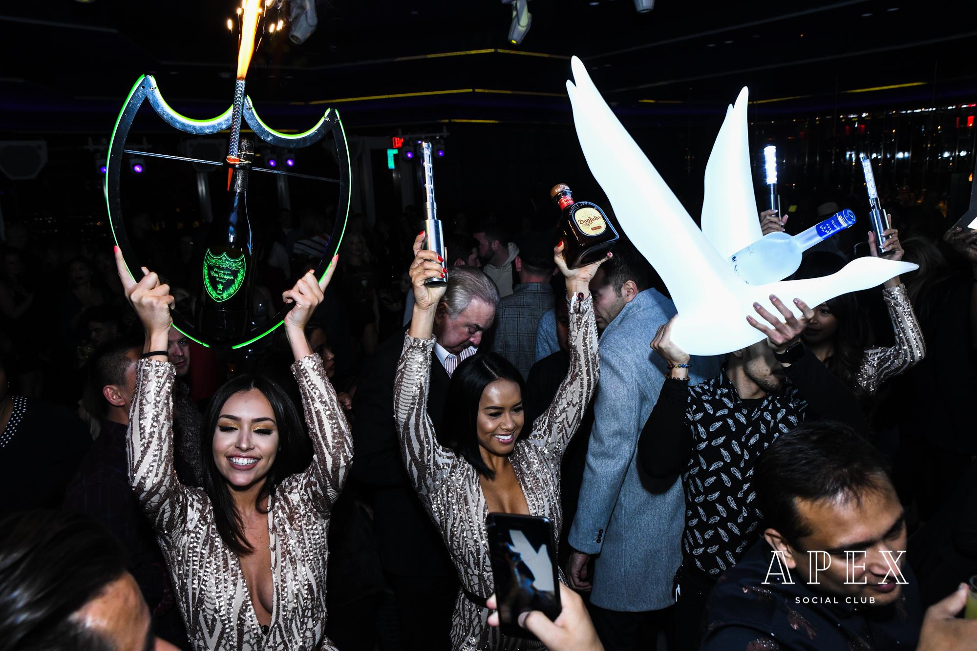bottle service at apex social club in las vegas