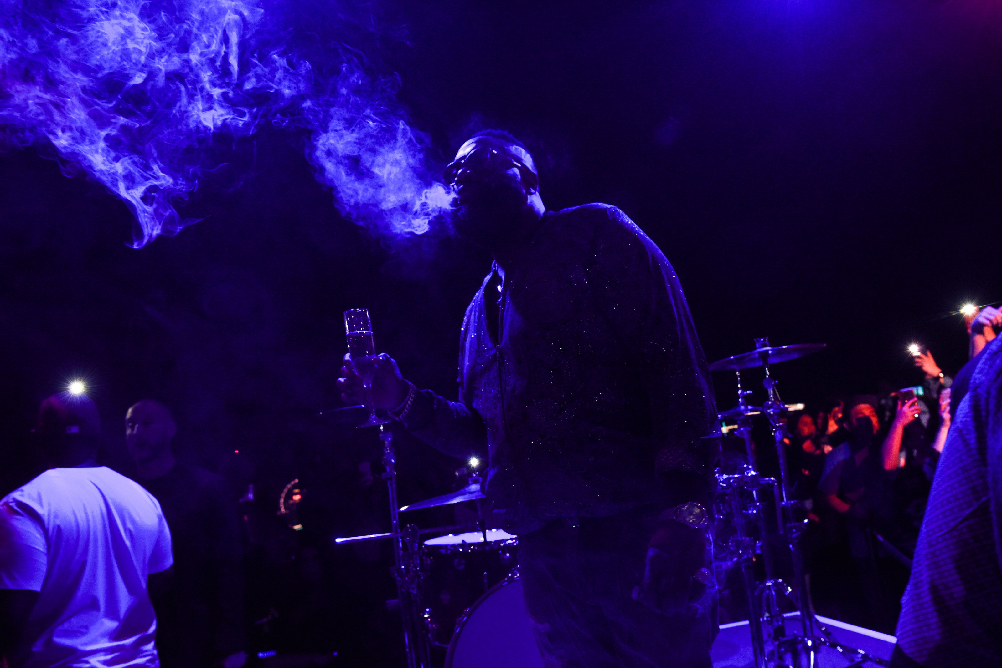 rick ross performs on palms casino rooftop inside apex social club