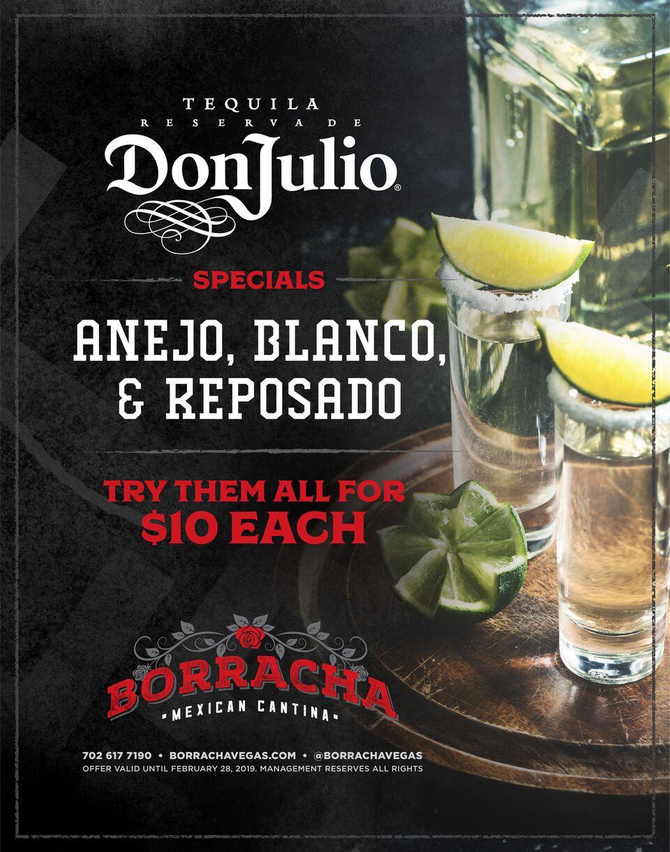 tequila specials at Borracha Mexican Cantina Henderson