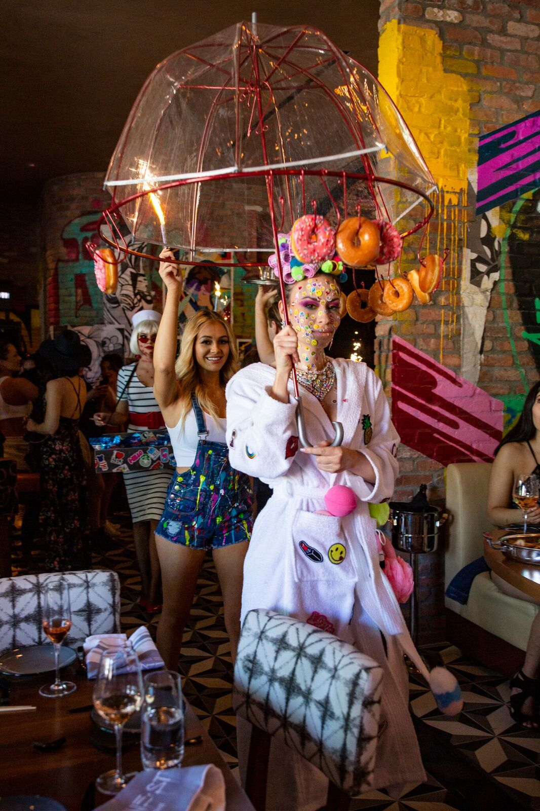 BRUNCH'N Waitresses in Costume with Donut Umbrella at Greene Street Kitchen