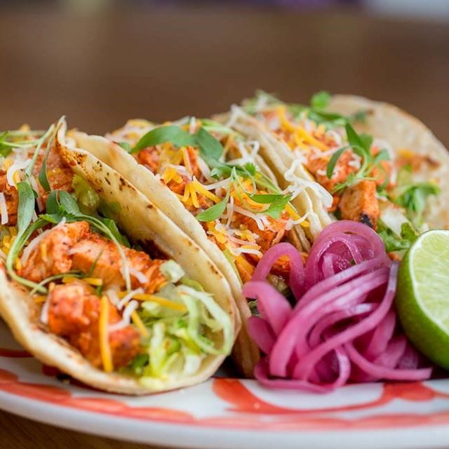 Cheese Tacos and Red Onions at Borracha Mexican Cuisine