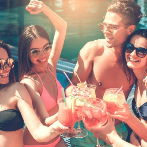 Sexy Couples Drinking at Retreat Pool & Cabanas - San Diego