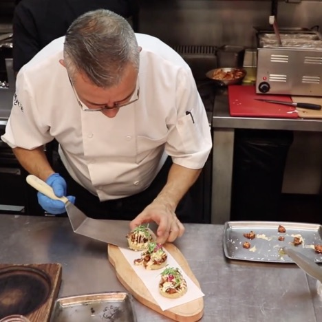 Chef at Borracha Prepares Tamale Cakes
