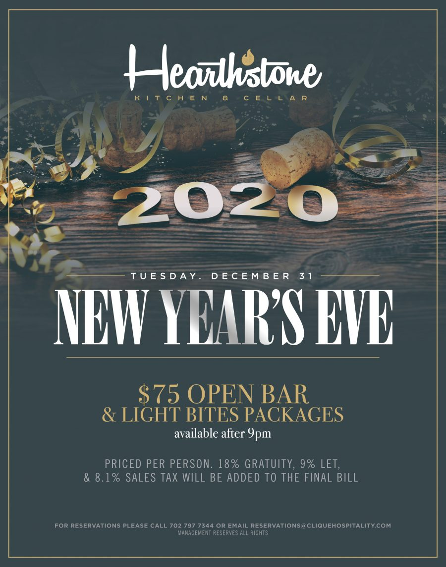 Celebrate New Year's Eve 2020 at Hearthstone