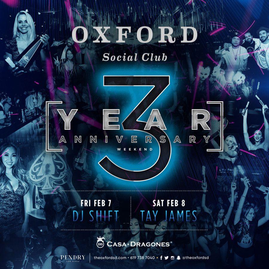 Celebrate San Diego Nightclub's Oxford's 3 Year Anniversary!